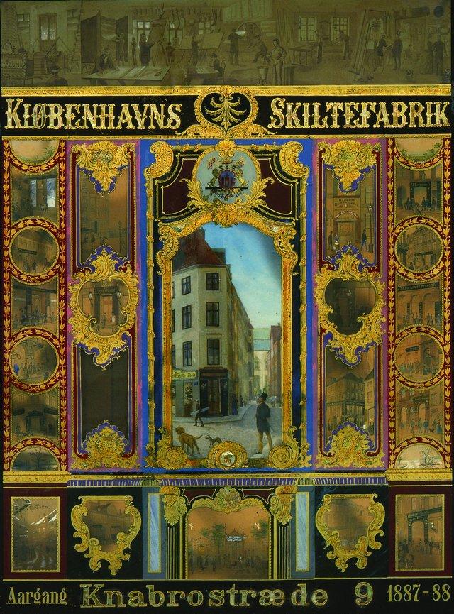 Glasskilt fra Københavns Skiltefabriks 10-års jubilæum i 1887